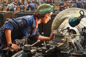 """Ruby Loftus Screwing a Breech Ring"", Laura Knight (1943)"